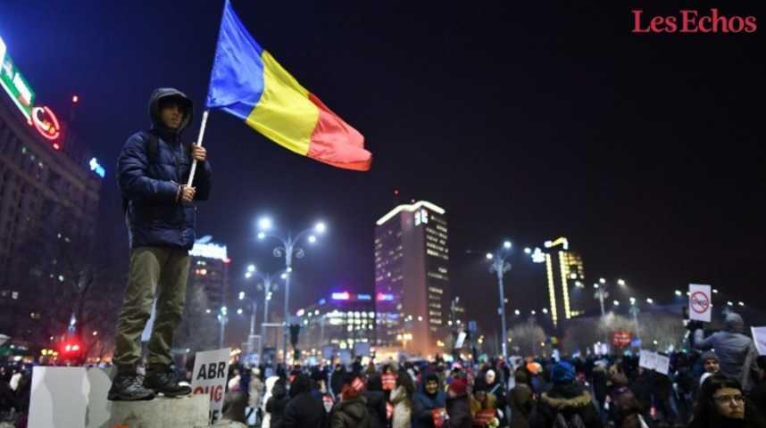 Illustration pour la vidéo Manifestations monstres en Roumanie malgré l'abrogation du décret