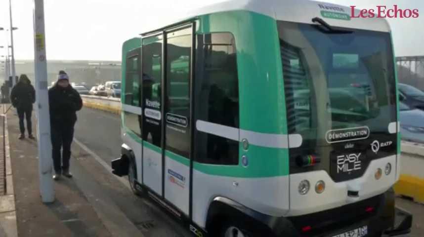Illustration pour la vidéo Véhicules autonomes : la RATP teste des mini-bus dans Paris