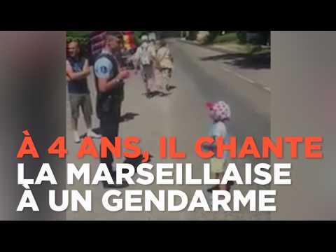 Sacha, 4 ans, chante la Marseillaise à un gendarme