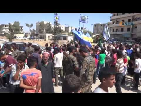 Manbij residents celebrate after IS militants flee Syrian town