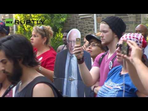 Susan Sarandon and Danny Glover address Sanders supporters in Philadelphia