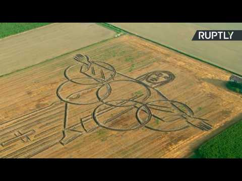 Ready for Rio? Italian Land Artist Uses Tractor to Plough Giant Olympics Tribute