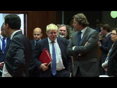 Boris Johnson attends first Brussels foreign ministers' meeting