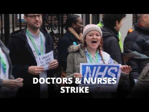 Save our NHS: Junior doctors and student nurses strike