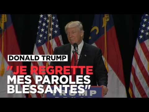 Trump dit regretter d'avoir prononcé des paroles blessantes
