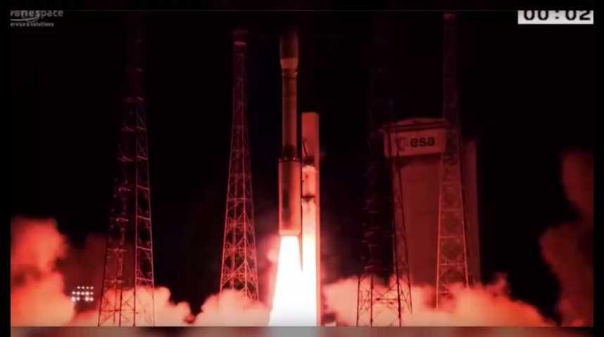Illustration pour la vidéo Espace : la fusée Vega place 5 satellites en orbite