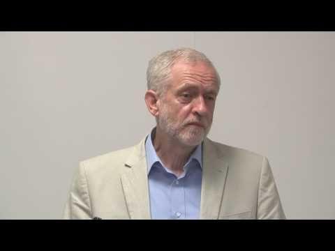 Jeremy Corbyn gets frustrated at questions about the train