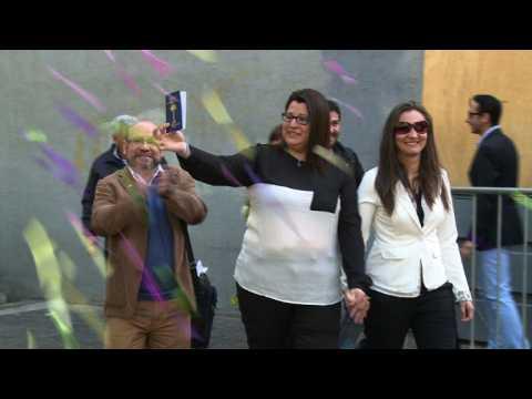 Chile's first same-sex civil union celebrated in Santiago