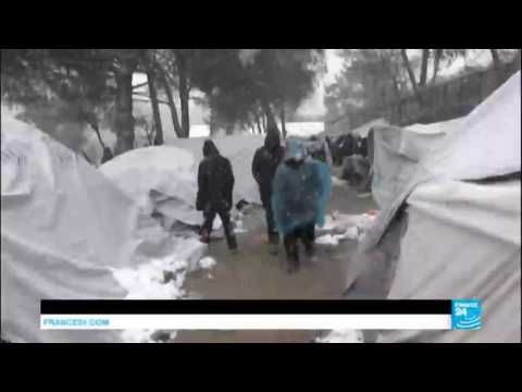 Europe migrants crisis: refugees in Greece face high risk do to freezing winter, snowfalls