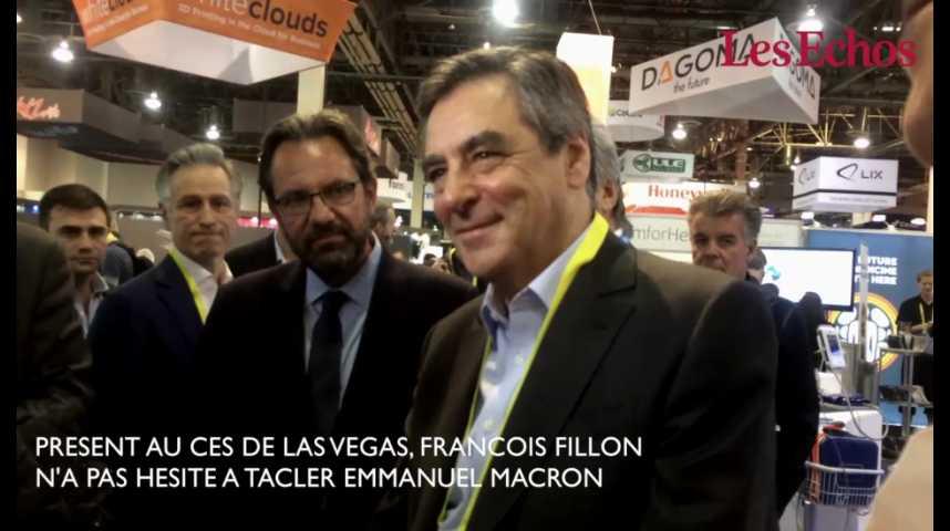 """Illustration pour la vidéo Au CES, François Fillon tacle Emmanuel Macron : """"Je suis venu ici pour la première fois en 1999"""""""