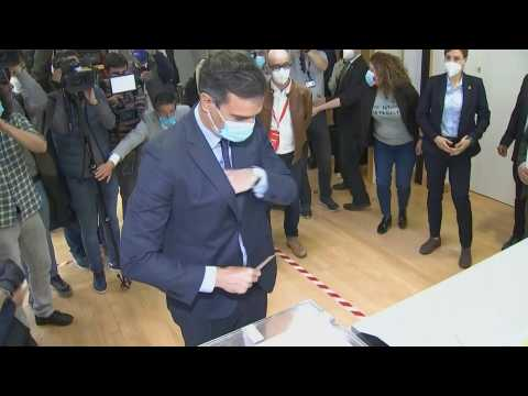 Spain's Prime minister Pedro Sanchez votes in Madrid regional elections