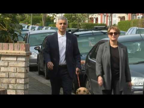 London Mayor Sadiq Khan makes election day appearance at polling station