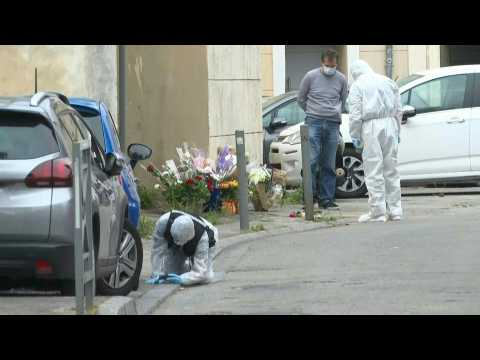 French police, forensics investigate scene of officer's killing