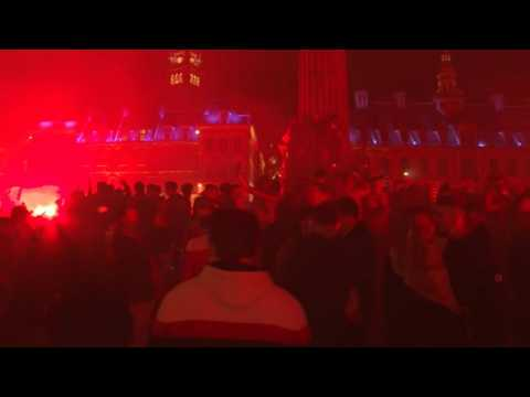 Football : Lille fans celebrate after winning the French Ligue 1 title
