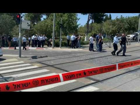 Images of the scene after stabbing attack in Jerusalem