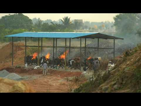 Indian crematorium overwhelmed as country battles catastrophic Covid-19 surge