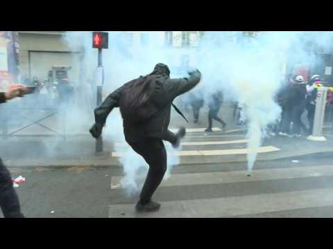 Clashes break out between demonstrators and police during May Day march in Paris