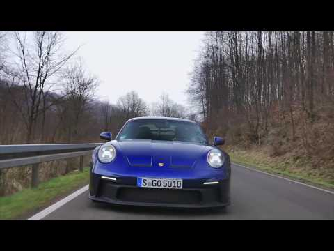 The new Porsche 911 GT3 in Gentian Blue Driving Video