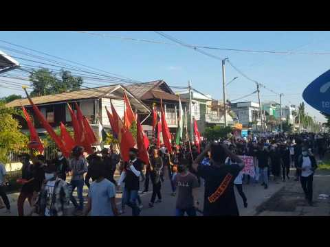 Hundreds of anti-coup protesters march in Myanmar's Dawei