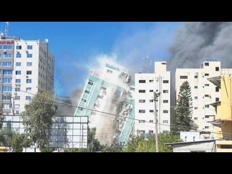 Israel flattens Gaza building hosting AP, Jazeera in air strike
