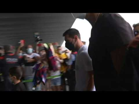 Football: Lionel Messi and family arrive at Barcelona airport