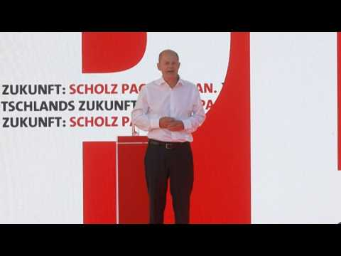 SPD party's main candidate Olaf Scholz attends campaign rally