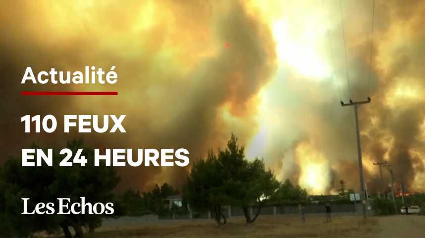 Illustration pour la vidéo Les feux désormais aux portes d'Athènes
