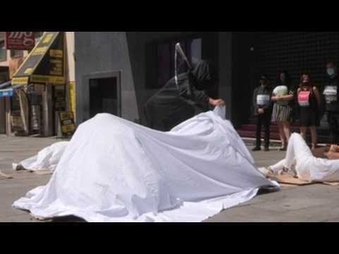 Animal rights activists protest in Madrid against animal testing