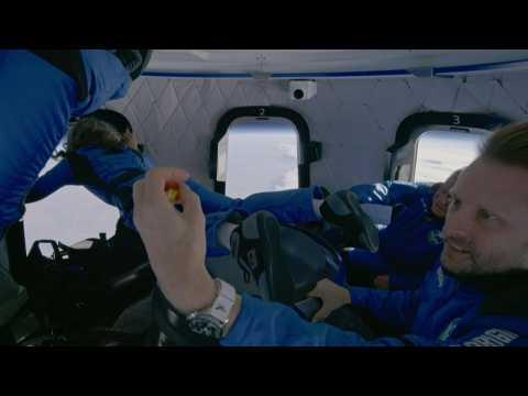 'Oh wow': Shatner and Blue Origin crew enjoy zero gravity in capsule