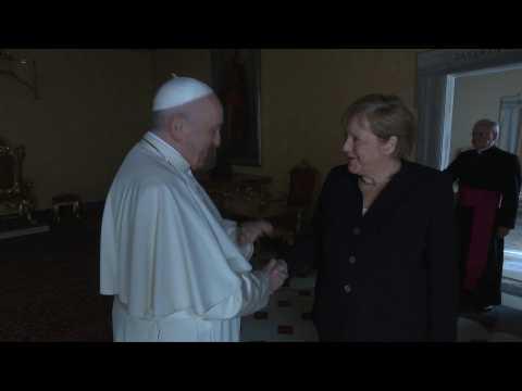 Pope Francis meets German chancellor Angela Merkel