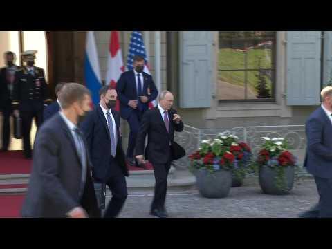 Russian President Vladimir Putin leaves Villa La Grange after meeting with Joe Biden