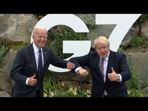 Boris Johnson greets Joe Biden in Cornwall ahead of G7 summit