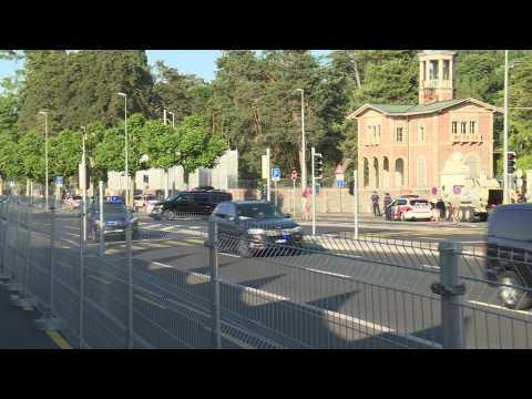 Biden and Putin's motorcades leave the Villa de la Grange in Geneva