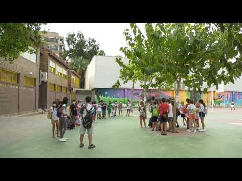Children go back to primary school in Murcia, Spain