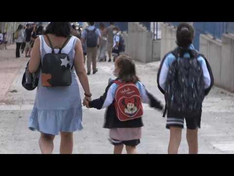 Children go back to primary school in Madrid