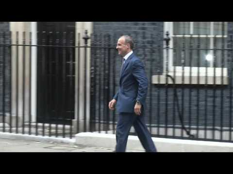 UK's foreign minister arrives at Downing Street after cabinet reshuffle