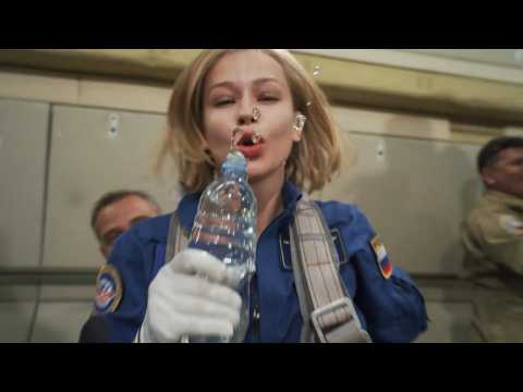 Russian movie space crew trains in zero gravity ahead of ISS launch