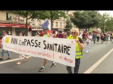 France Health pass: demonstration between Bastille and Porte de Champerret in Paris