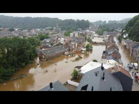 Drone images show flooded Belgian city Pepinster