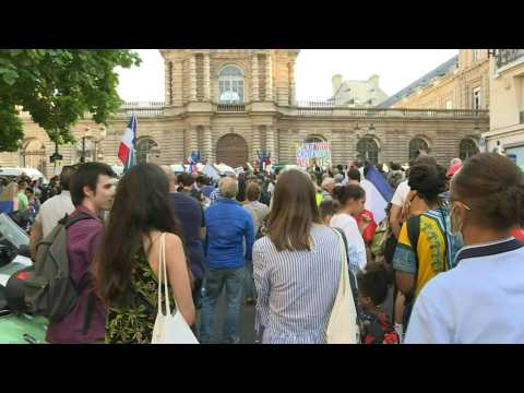 France's Health Pass: demonstration outside the Senate in Paris