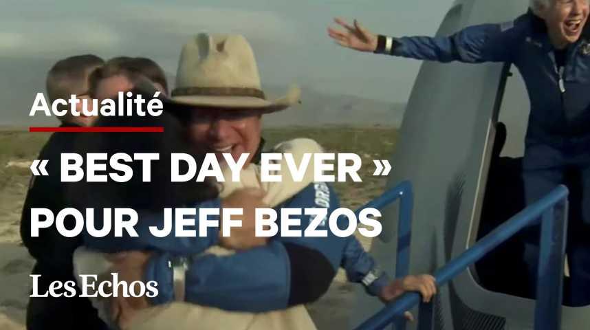 Illustration pour la vidéo Le milliardaire Jeff Bezos s'envole avec succès dans l'espace
