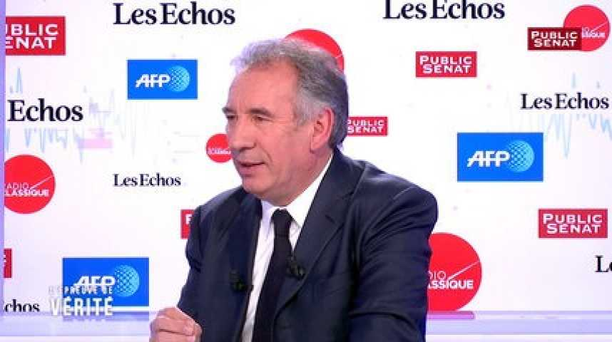 Illustration pour la vidéo François Bayrou pense qu'il n'est pas opportun d'annoncer des investitures législatives entre les deux tours d'une présidentielle
