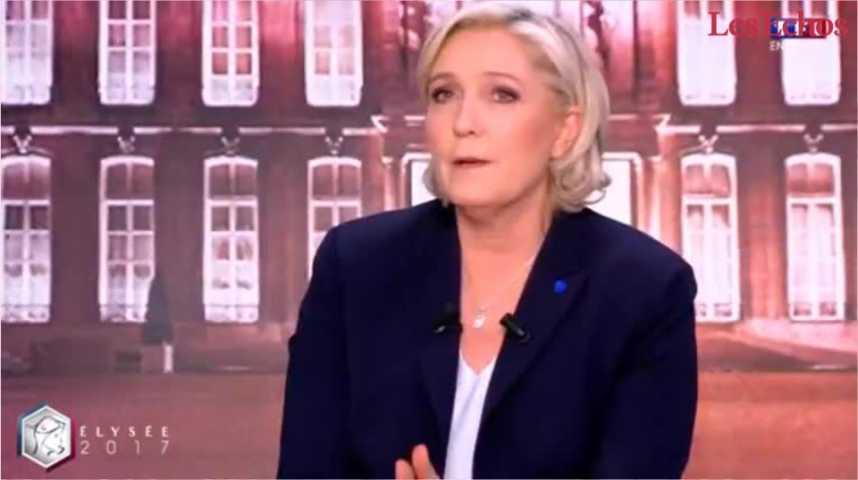 Illustration pour la vidéo Le Pen se défend d'être la « candidate du Front National » et attaque Macron