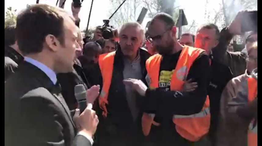 Illustration pour la vidéo Le face à face courageux entre Emmanuel Macron et les employés de Whirlpool