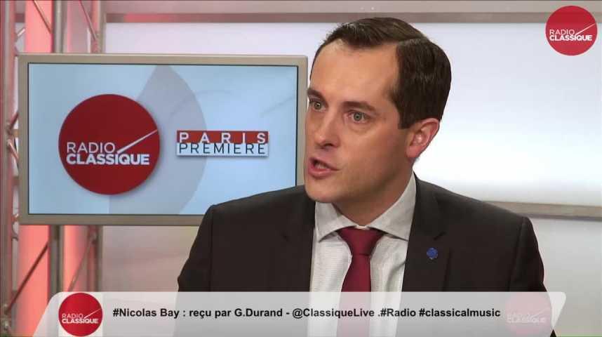 """Illustration pour la vidéo """"Les électeurs de Jean-Luc Mélenchon ne veulent pas du quinquennat d'un banquier"""" Nicolas Bay (27/04/2017)"""