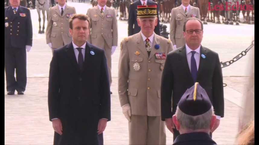 Illustration pour la vidéo Hollande et Macron ensemble pour commémorer le 8 mai