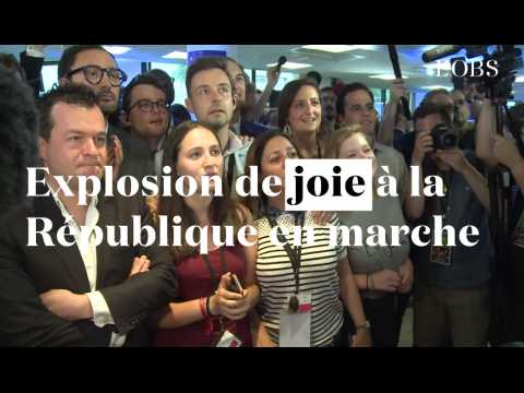 Législatives 2017 : explosion de joie à la République en Marche