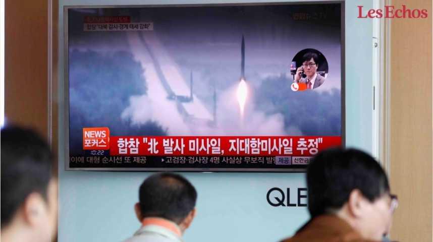 Illustration pour la vidéo La Corée du Nord tire une nouvelle salve de missiles en mer