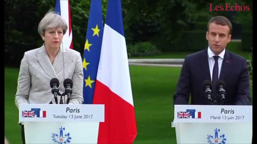 Illustration pour la vidéo Emmanuel Macron et Theresa May dévoilent un plan d'action contre le terrorisme