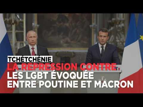 """Macron : """"J'ai évoqué avec le président Poutine le respect des minorités et des LGBT en Tchétchénie"""
